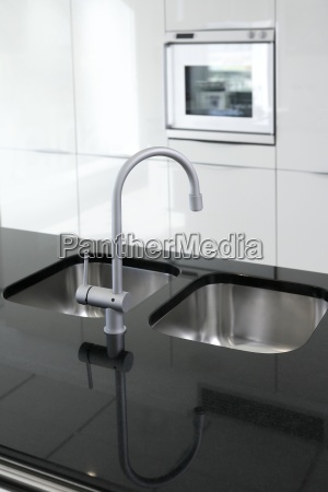 kitchen faucet and oven modern black