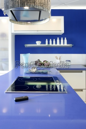 blue white kitchen modern interior design