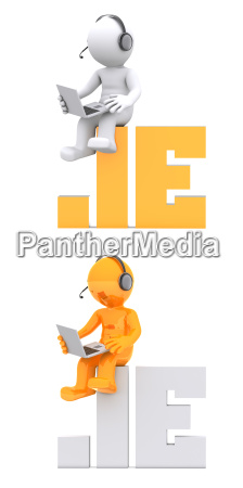 3d character sitting on ie domain