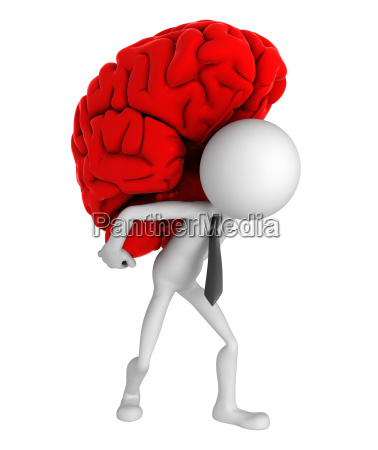 businessman carrying brain on his shoulders