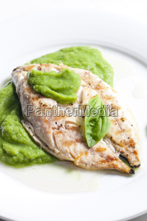 grilled mackerel with mashed pea and