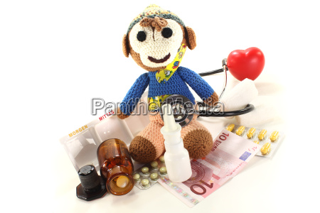 pediatrician with monkeys and medicines