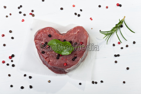 heart shaped piece of beef