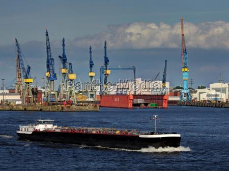 shipyard in hamburg harbor
