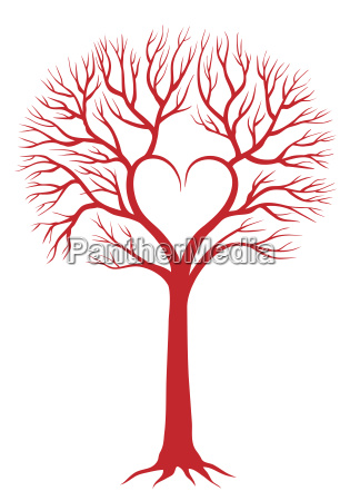 heart tree vector background
