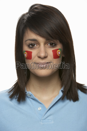 young female sports fan with portugese