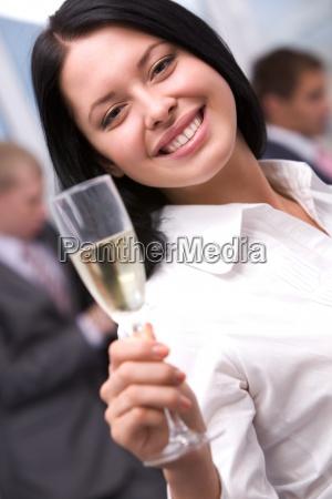 girl toasting
