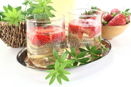 drink wine champagne woodruff fruit cup