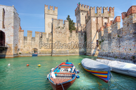 medieval castle on lake garda in