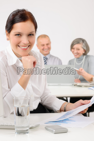 young executive woman review reports