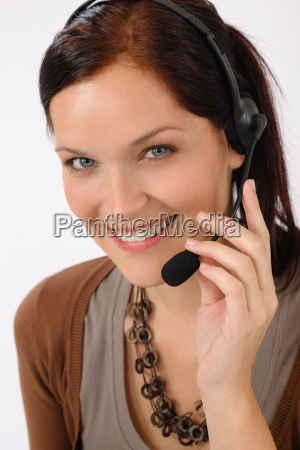 friendly help desk woman smiling