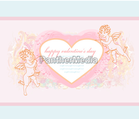 happy valentines day card with cupid