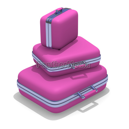 pink suitcases on a white background
