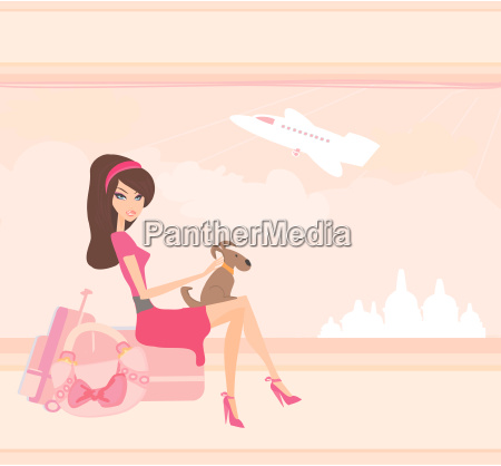 beauty travel girl with baggage and