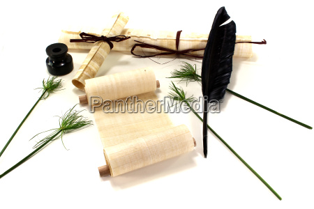 papyrus scrolls with quill pen