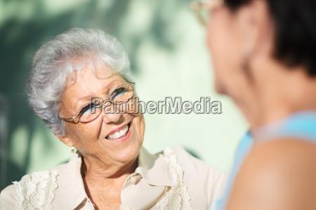 old friends two happy senior women