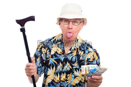 rich elderly man making funny faces