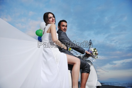 just married couple on the beach