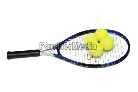 tennis rackets and four balls isolated