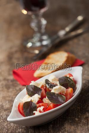 insalata caprese with purple basil
