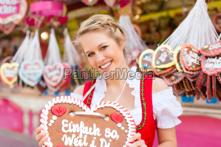 young woman in traditional dirndl at
