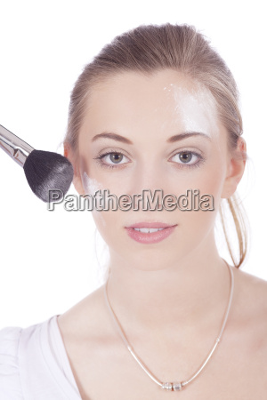 beautiful young woman in makeup with