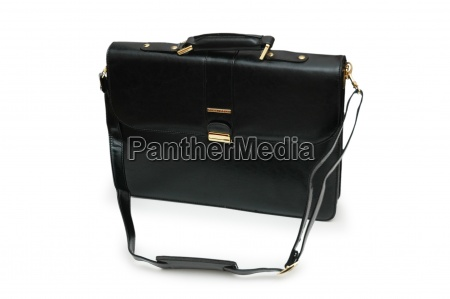 black leather briefcase isolated on the