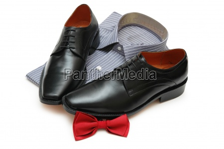 pair of black shoes new shirt