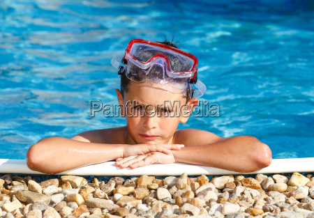 boy with spectacles in the swimming