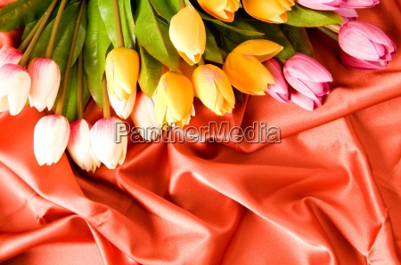 many flowers on the red satin