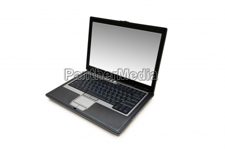 silver laptop isolated on the white