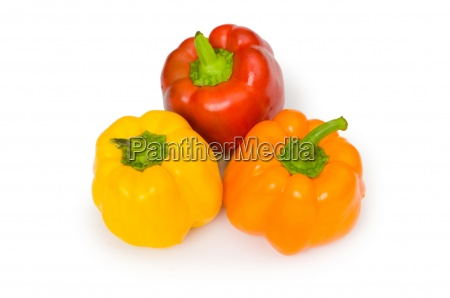 three bell peppers isolated on the