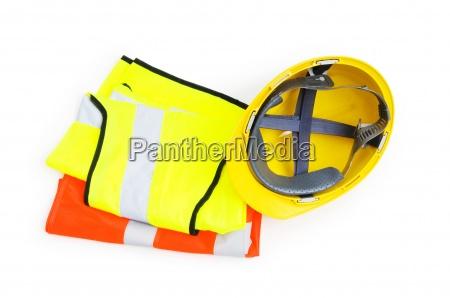 orange vest and hardhat isolated on