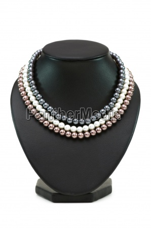 various pearl necklaces isolated on the