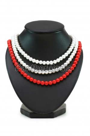 pearl necklaces isolated on the white