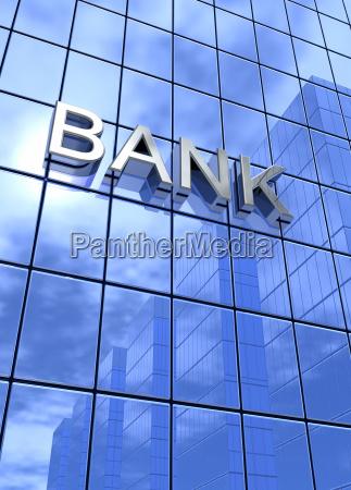 spiegelfassade blue bank concept vertically