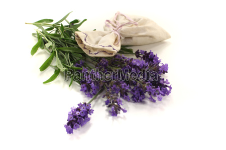 lavender bag with flowers and leaves