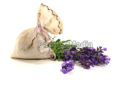 lavender bag with fresh flowers and