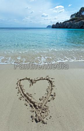 heart drawn on a beach in