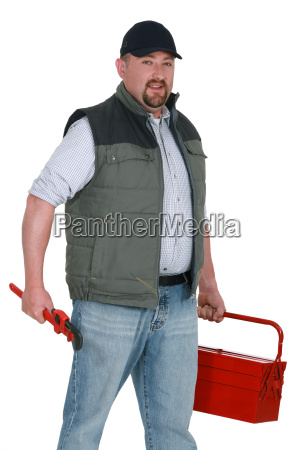 portrait of craftsman with toolbox adjustable