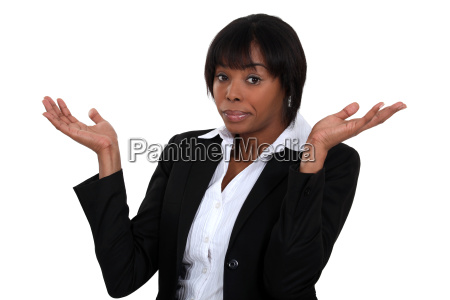 black woman gesturing that she doesnt