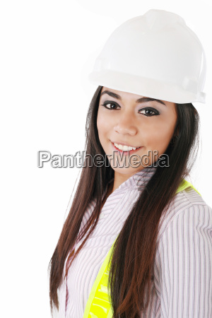 engineer woman in white helmet isolated