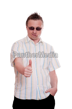 man with sunglasses holding translucent thumbs