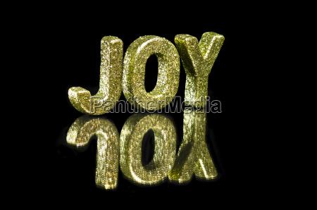 in capital letter written joy glitter
