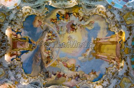 world heritage frescoes of wieskirche church