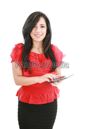 young smiling business woman with tablet