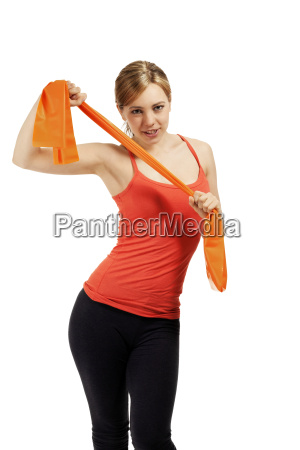 young sportswoman exercising with a fitness