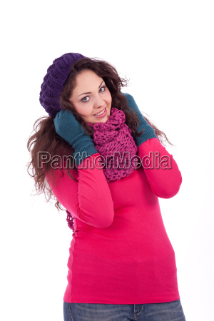 young woman with hat scarf and