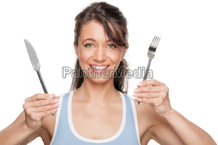woman with cutlery