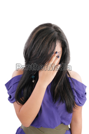 young business woman showing stress isolated